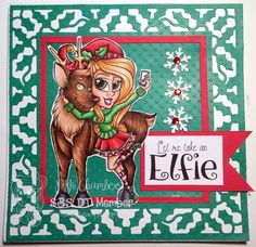"""Christmas card from Simply Betty Stamps """"Take an Elfie"""""""