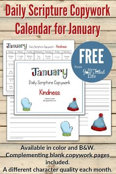 FREE Daily Scripture Copywork Calendar for January that focusing on kindness.