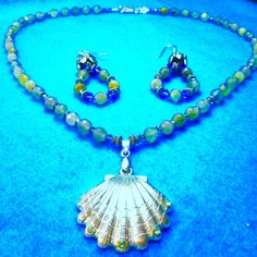 Magical FABULOUS LABRADORITE ONE Only+Sale 7.00 Dollars Off Reg. Price+Gems Necklace Set+Silver Sea Shell+Crystals+Flashes Light+Free Ship* by TjeansJewelry on Etsy