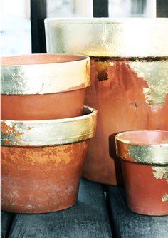 GOLD!!  Gold-Leaf-Terra-Cotta-Pots