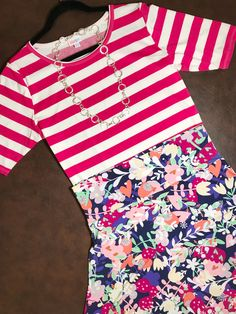 Stripes & floral pattern mixing is so fun!!! Did you know stripes are considered a solid? So gorgeous😍 XL hot pink & white striped Gigi $35 & XL Azure $35! FREE shipping on outfit purchase!