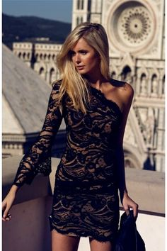 Black lace one shoulder dress