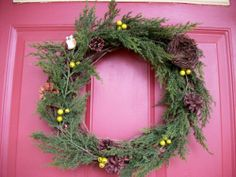 "Woodland Cedar Wreath - 15"" by Silkmama.com. $29.99. Hand Made Item. Artificial Cedar (Vinyl) Garland, Green Winter Berries, Bird Nest, Carolina Wren. 14"" Grapevine Wreath; finished size appx. 15"". Perfect for year round display. Indoor/Covered Outdoor. Artificial Cedar (Vinyl) Garland, Green Winter Berries, Bird Nest, Carolina Wren on a 14"" Grapevine Wreath.  Finished size appx. 15"".  Designed and hand crafted by Karen Reynolds for Silkmama.com"