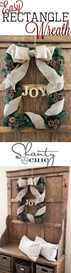 Easy DIY Rectangle Wreath--A commenter suggested using an empty picture frame for the rectangle form. Krylon gold glitter spray paint used for letters. Wreath Crafts, Christmas Projects, Holiday Crafts, Holiday Fun, Holiday Decor, Wreath Ideas, Rustic Christmas, Winter Christmas, Christmas Holidays
