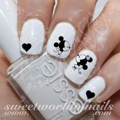 20 water decals on a clear water transfer which can be applied over any color varnish on either your natural or false nail. Paint nails in the color of y Nail Art Mickey, Mickey Mouse Nails, Minnie Mouse, Disney Mickey, Fabulous Nails, Perfect Nails, Disney Acrylic Nails, American Nails, Heart Nails