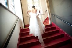 Berkeley Events bride running up staircase