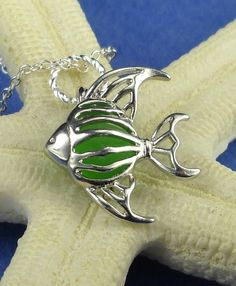 Angelfish Sea Glass Necklace Locket Green by BoardwalkBaubles