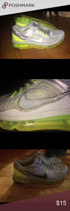 0b6a111fee shoes - G-man · Boys size 6.5 Nike air max These are grey and neon green  with a black Nike