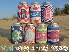 custom monogrammed koozies from Haymarket Designs maybe As favors with bride and groom names on them with date