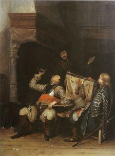 Gerard ter Borch - Drie soldaten maken plezier