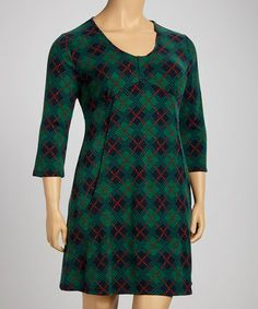 Take a look at this Teal Plaid Empire-Waist Dress - Plus by Ice Silk on #zulily today!