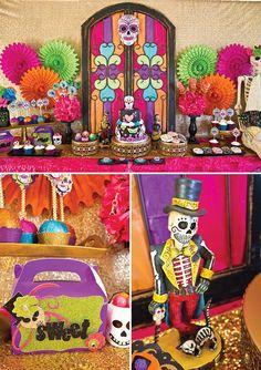 dia de los muertos party dessert table