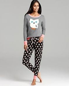 Kensie Always a Deer Thermal Owl Print Pajamas Set 6e9bba420