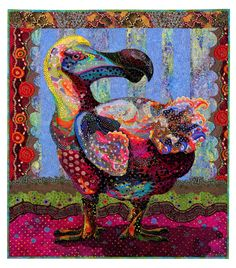 "Polka Dodo, 44 x 40"", art quilt by Susan Carlson • Harpswell, Maine, USA.  Wild Fabrications exhibit, SAQA."