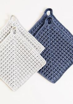 Crochet Blusas Design Ravelry: Heklede grytekluter pattern by Sandnes Design - Crochet Hot Pads, Crochet Towel, Crochet Potholders, Crochet Quilt, Crochet Dishcloths, Easy Crochet, Free Crochet, Knit Crochet, Crochet Waffle Stitch