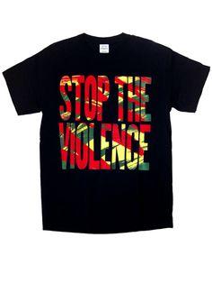 """STOP THE VIOLENCE"" Reproduction T-Shirt - [GROPE IN THE DARK] ヒップホップアーティストTシャツ バンドTシャツ HIPHOP ストリート系通販"