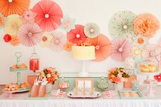 mint+and+grey+and+coral+decor | Mint & Coral Wedding Inspiration