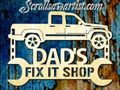 Wood sign - Dad's Fix it shop