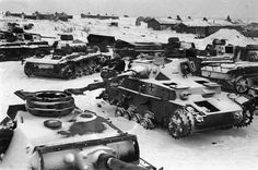 Destroyed German tanks in the snow of Stalingrad (Winter 1942-43)