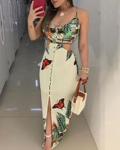 2019 Summer Women Elegant Long Casual Party Dress Female Maxi Dress Ladies V-Neck Spaghetti Strap Tropical Print Cutout Dress Maxi Dress With Slit, Bodycon Dress, Trend Fashion, Womens Fashion, Fashion Blogs, Style Fashion, Fashion Weeks, Fall Fashion, Fashion Online