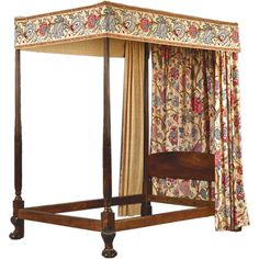 Rare and Important Canopy Bed. Chippendale Period. Ball and Claw Legs. Fluted Columned Posts. England, 18th century