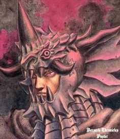 Tags: Anime, Miura Kentarou, BERSERK (Kentaro Miura), Portrait, Dragon, Single Horn, Helmet, Locus(?)