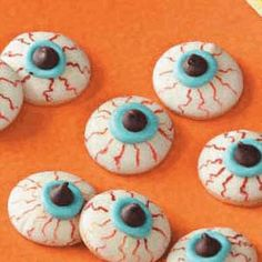 Vanilla wafers covered in white chocolae and decorated. Optical Fun-Eyeball Holiday Cookies And Recipe