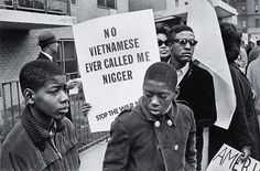 April 27, 1967 — Demonstrators against the U.S. war on Vietnam in the Harlem Peace March carry the words of Muhammad Ali. via reddit