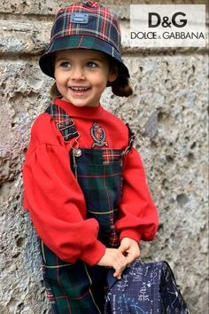 Love this Back to School look by Dolce & Gabbana for Fall 2021. Red and green tartan dungarees is made with soft wool flannel. Red DG crown puff sleeve sweatshirt. Shop @ Childrensalon @ affiliate. #doclegabbana #backtoschool #dgkids #childrensalon #dashinfashion Kids Fashion Blog, Kids Winter Fashion, Girls Designer Clothes, Girls Special Occasion Dresses, Black And White Logos, Dolce And Gabbana Kids, Kids Wear, Boy Outfits, Tartan