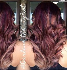 Ideas for hair trends 2017 color balayage Red Violet Hair, Red Brown Hair, Brown Hair Colors, Reddish Brown, Auburn Hair Balayage, Hair Color Balayage, Haircolor, Blonde Hair With Highlights, Peekaboo Highlights