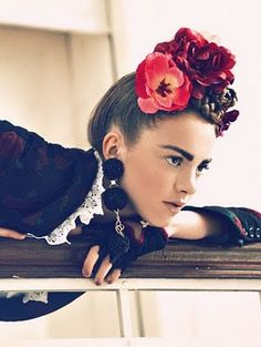 Frida alike - rocking the Frida flowers in a fashion shoot