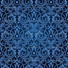 blue and black damask fabric | Blue seamless wallpaper pattern