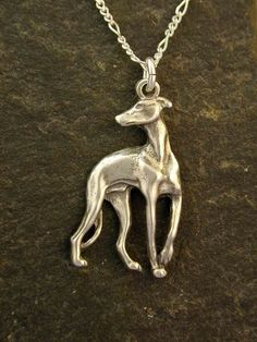 Sterling Silver Greyhound Dog Pendant on a Sterling by peteconder, $54.00 #dog jewelry #greyhound #dog