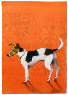 dog, pastel on monotype