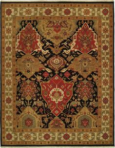 Dark color rug with old age design and patterns
