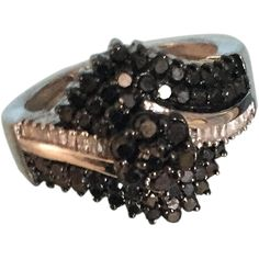 72 Black and White Mined Diamonds Cocktail Ring in Sterling Silver size 7