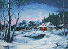 Cod produs 6.76 Iarna albastra Culori: 25 Dimensiune: 22 x 30cm Pret: 61.75 lei Lei, Painting, Embroidery, Painting Art, Paintings, Painted Canvas, Drawings