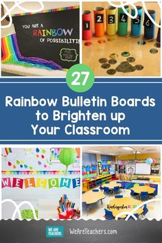 Looking for classroom decor ideas for next year? These rainbow bulletin boards are sure to brighten up your walls and hallways. Stem Bulletin Boards, Rainbow Bulletin Boards, Welcome Bulletin Boards, Kindergarten Bulletin Boards, Summer Bulletin Boards, Welcome To Kindergarten, Classroom Welcome, Teacher Bulletin Boards, Preschool Class