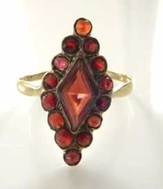 Vintage Solid 8K Gold Garnet Ring 7 5 Red Gemstone 1940's Rose Cut Diamond Shape | eBay