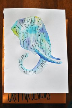 Stronger then you are elephant by GreyFoxDesign on Etsy