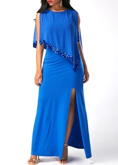 Overlay Embellished Round Neck Front Slit Dress on sale only US 39.16 now 53adcade8