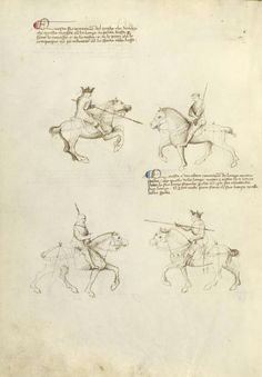 Equestrian Combat with Lance and Sword Artist/Maker(s): Fiore Furlan dei Liberi da Premariacco, author [Italian, about 1340/1350 - before 1450] Date: about 1410 Medium: Tempera colors, gold leaf, silver leaf, and ink on parchment Dimensions: Leaf: 27.9 x 20.6 cm (11 x 8 1/8 in.) Object Number: 83.MR.183.42v Department: Manuscripts