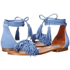 Steve Madden Sweetyy (Light Blue) Women's Sandals (3,675 PHP) ❤ liked on Polyvore featuring shoes, sandals, wrap around sandals, summer shoes, fringe sandals, ankle tie shoes and light blue sandals