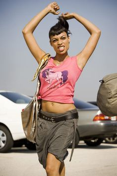 Love her bangs in Death Proof... and this skirt/capris... need to find a pattern to make these