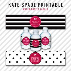 Kate Spade Water Bottle Labels  Customized For Any by partyinprint