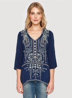 Paizy Blouse The Johnny Was PAIZY BLOUSE features an intricate geometric embroidery design that details the entire front, accented by embroidery along the hem and back placket. Pair this boho embroidered top with your favorite jeans, or dress it up with a skirt and heeled booties!  - Rayon Georgette - V-Neckline, ¾ Length Sleeves - Signature Embroidery - Care Instructions: Machine Wash Cold, Tumble Dry Low