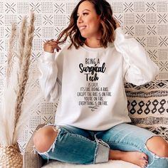 Surgical Tech is easy Crewneck Pullover Sweatshirt Surgical Tech, Love My Job, Crew Neck, Pullover, Sweatshirts, Hoodies, Sweater, Trainers, Sweaters