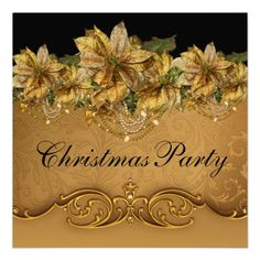 Black Gold Poinsettia Gold Christmas Party Invitations