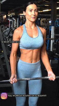 Big Arm Workout, Upper Body Workout Routine, Slim Waist Workout, Gym Workout Videos, Biceps Workout, Arm Workouts At Home, Fun Workouts, Bora Malhar, Gym Style