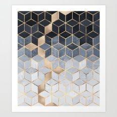 Cópia macia Gradiente Azul Cubos Art